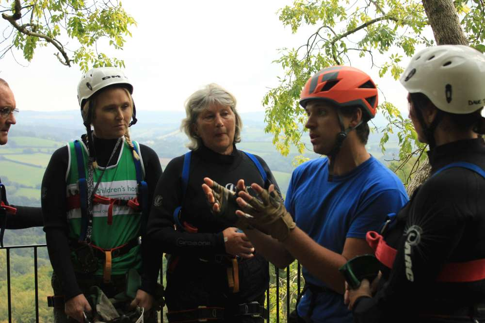 Dave briefing the abseil group